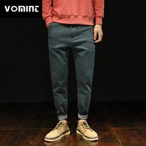 Vomint 2018 Yeni Erkek Kot Esneklik Halen Pantolon Splice Yıkama Sıkıntılı Kot Rahat Pantolon Erkek HLK5165 için
