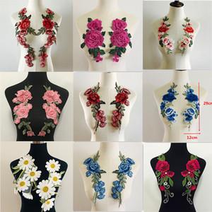 2pcs / Set Flower Rose Remendos adesivos para roupa Parches Pará La Ropa Applique Flor Bordado Patches