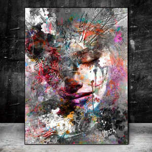 Pinturas na Parede Abstract Girl Impressão em Canvas Wall Art Prints Graffiti Art Prints Pictures parede Arte Pop moderno para sala de estar