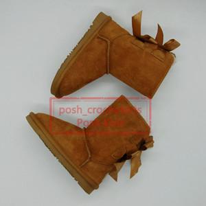 Bottes de neige enfants avec des bottes de concepteur d'arcs pour filles Bottes en cuir véritable pour enfants design chaussures Botas de Nieve