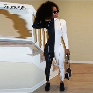 Ziamonga Stretch Autumn Winter Rompers Womens Jumpsuit Bodycon Long Sleeve Pants Sexy Zipper Bodycon Jumpsuit Patchwork Club