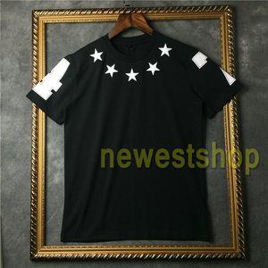 2020 der heiße Verkauf Marken-Tag Kleidung Herren T-Shirt Weiß fünfzackigen Stern Flockdruck T-Shirt Mode-T-Shirts Designer-T-Shirts Camiseta Tops
