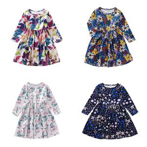 2019 Girls' skirt New long-sleeved Plant Flower Printing Girls' dress in Autumn