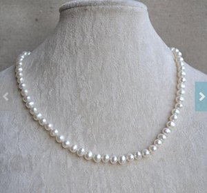 Unique Pearls jewellery Store White Pearl Necklace 18inches 7mm Genuine Freshwater Pearl Necklace Wedding Gift Women Jewelry