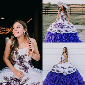New Arrival Pearls Blue Quinceanera Dresses Applique Puffy Skirt Sweet 16 Dress Long Ball Gown Prom Gowns vestidos de 15 años