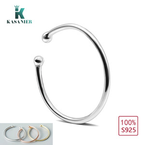 KASANIER 100% 925 Sterling Silver Circular Ring Hollow Open Adjustable Ring Wear in Toes and Fingers and Nose 3 color options