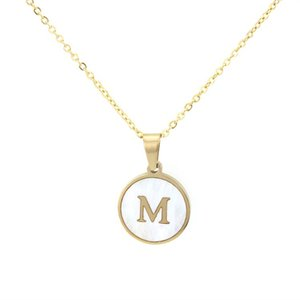 2020 Summer Stainless Steel Round Shell Pendant Necklace For Women Girls A-Z Initial Letter Alphabet Gold Color Jewelry Valentine's Day Gift