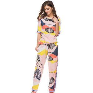 2019 Women Summer Print Tracksuit T-shirt+Pants Two Piece Sets Short Style Chiffon Shirts Wide Leg Pant Female Woman Ruffled Straps Trousers