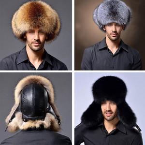Rus Şapka Rus kalpağı Bombacı Şapka Ordu Askeri Mens Kış Şapka Kulak Flaps Chapka Russe Homme Gorro Ruso Erkekler Kürk Şapka Caps