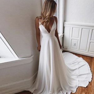 Deep V Neck Satin A Line Summer Beach Wedding Dresses Tulle Lace Applique Beaded Sweep Train Bridal Wedding Gowns H072