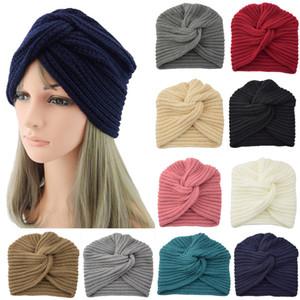 2019 otoño invierno ocasional de la manera mujeres de los hombres cruzados sombrero al aire libre caliente de las lanas musulmanes turbante color sólido de punto Cap de la nueva llegada