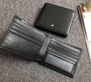 المحفظة الكلاسيكية مصمم الأسود رجالي فاخر قصير جلد محفظة رجل محفظة جيب BIFOLD MT محفظة رجالية ID بطاقة المجموعة مع صندوق شحن مجاني