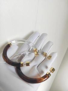 acrilico di alta qualità e due colori per le donne collegano rotonda Orecchino ad anello di nozze regalo gioielli trasporto libero PS4459