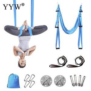 6 Handles Anti-Gravity Yoga Hammock Swing Non-Elastic Leisure Decompression Body Shaping Hanging Belt Yoga Inversion Device