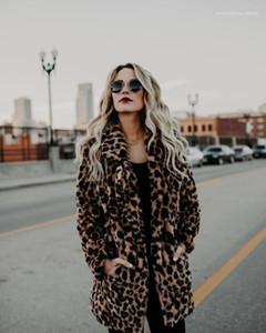 Winter-Frauen Mantel Mode Desigenr verdickte Warm-Revers Outwear beiläufige lange Mäntel Frauen Kleidung Leopard Faux Fur