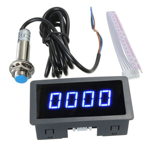 Freeshipping 4 Digital LED Blue Tachometer RPM Speed Meter+Hall Proximity Switch Sensor NPN