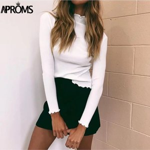 Aproms blanc à col roulé Bodycon Chandails Femmes solides de base overs Rue Slim Fit Maille Pull Femme 2019 tricotée Jumper T200102