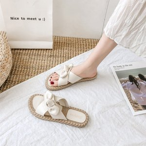 Butterfly-knot Slippers Casual Low Female Shoes Slides Summer Woman Luxury 2020 Soft Flat Beach Fashion Rubber PU Basic