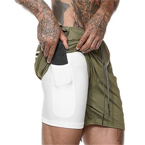 Men's Summer Running Casual Shorts Gym Clothing Homme Security Pockets Pants Short Built-in Pockets Men Hips Hiden Zipper Pocket