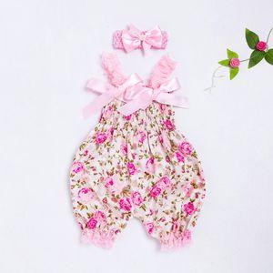 2019 fashion Lantern sling Toddler Baby Boys Girls Floral Romper Jumpsuit+Headband Set Outfit