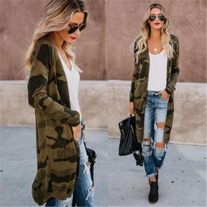 Frühling und Herbst neue beiläufige Strickjacke dünne Jacke lose Frauen Tarnung lange Hülsen-dünne Joker Frauen lange Jacke Drucken