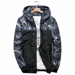 Uomini Bomber Thin Slim maniche lunghe Camouflage giacche militari con cappuccio 2018 Windbreaker Zipper Outwear Army marchio di abbigliamento perfetto