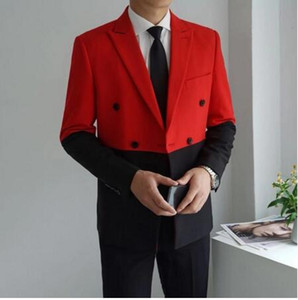 Мужские костюмы Blazers Черный красный белый мужчина Blazer мужской двойной грубоукладчик Masculino Slim Fit Wedding Graduce Elegant Splice Homme