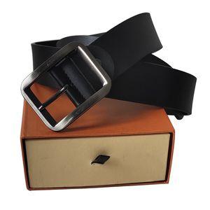 Cinturón Cinturones de cuero genuino de los hombres correa de las mujeres de la correa de Big Smooth hebilla clásica para hombre Cinturones correas de las mujeres con la caja