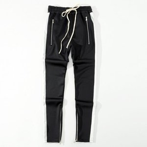 2018 New bottoms side zipper pants hip hop Fashion urban clothing FOG Joining together jogger pants Black red blue 3W4W