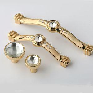 128mm fashion deluxe glass crystal win cabinet dresser door handle 96mm rhinestone kitchen cabinet drawer knob pull gold handles
