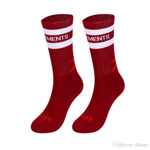 Apertura medias negras amarillas vetements Hombres de Sockings Carta Deportes hombres de la moda de impresión en el calcetines de algodón