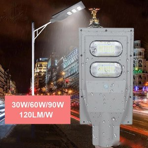 태양 가로등 120lm/W30W60W90W IP65 는 PIR 운동 측정기 통합 태양 가로등 극 및 먼 관제사를 방수 처리합니다