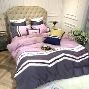 free shipping American British style cotton satin embroidered bedding 60 long-staple cotton satin cotton quilt embroidered four-piece suit