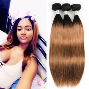 Kisshair couleur brésilienne cheveux Weave 3 Bundles Silky droite foncé Racine T 1B 30 auburn moyen Extensions cheveux Ombre du Brésil