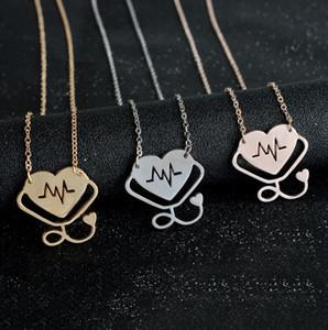 Nueva Moda Unisex Médico Médico Hollow Heart Stethoscope Cardiogram Colgante Collar Charm Cadena Joyería Regalos Envío Gratis