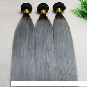 H Ombre Grey Human Hair Weave Straight Brazilian Viegin Hair Bundles Two Tone Color Gray Hair Bundles Top Quality Best Seller