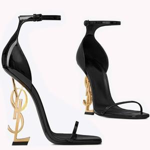 Diseñador de lujo Mujer Tacón dorado Zapatos de novia de la boda Moda modesta Eden Tacón alto Fiesta de mujer Zapatos de vestir de fiesta de noche Tacón de 10 cm