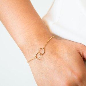 Simple round bracelet double ring double women's ring buckle bracelet