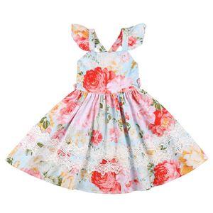 Flofallzique 아기 드레스 여자 파티 축하 야외에 대한 연꽃 소매 밝은 빈티지 꽃 유아 의류와