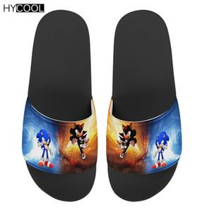 HYCOOL الرجال الصيف النعال الكرتون القنفذ سونيك طباعة أحذية عدم الانزلاق شقة شاطئ السباحة الأحذية منتديات بنين الأزياء ساندليس