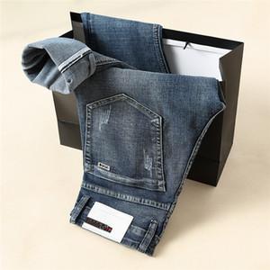 Nouvelle arrivée Mens Designer Blue Jeans Fold Stripe style Lavé Fashion Jeans Jeans Slim droites Motard Taille US causales 29-40