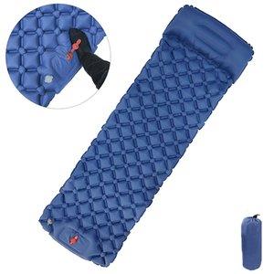 Outdoor Camping Picnic Beach Inflatable Mattress Sleeping Pad Single Mat Cushion Pillow Fast Inflation Deflation Camping Mat Outdoor Pads