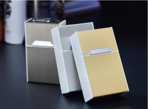 Art und Weise neu 20 Cigarette gebürstetes Aluminium Metall Zigarettenetui Aufbewahrungsbehälter mit USB aufladen Lighters 3 Farben 100pcs / lot DHL geben
