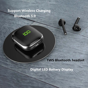 Mini Earbuds Wireless Bluetooth Headsets Headphons with MIC with Charging Box Support Wireless Charging LED Battery Display for Smartphone