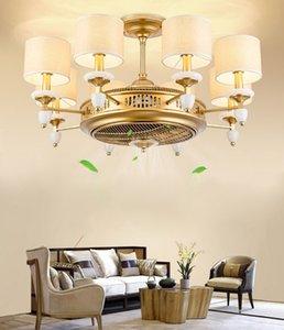 아메리칸 스타일 골드 천으로 아트 천장 팬 호텔 조명을위한 조명과 드롭 램프와 전기 팬 이중 기능을 적용 LLFA