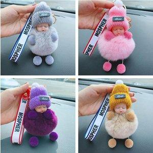 النوم سلسلة الطفل الحلي منفوش بوم بوم دمية مفتاح مع بو الجلود أقراط الكورية نمط سلسلة مفتاح قلادة حقيبة مجوهرات GGA3091-6