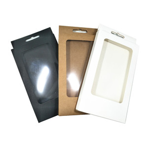 10x17x1.5cm durchsichtige Kunststoff-Fenster Kraft Paper Box Geschenk-Fertigkeit-Paket-Fall faltbare Kartons Telefon-Shell-Speicher Carton Fall-Loch