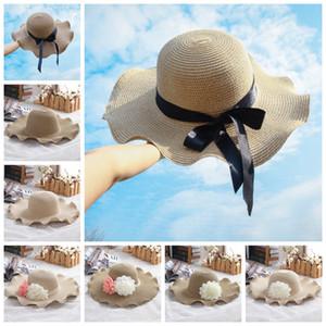 Леди пляж соломенные шляпы ВС Hat Женщины широкими полями соломы шляпы Открытый Панама Солнцезащитный Шляпы Церковь цветок шапка LJJA3717-13