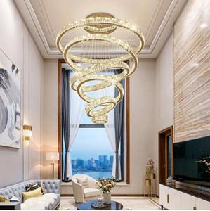 Lüks LED Modern avize aydınlatma büyük merdiven LED kristal avizeler yuvarlak halka fenerler ev dekorasyon Kristal lambalar
