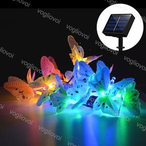 Luzes de jardim solar LED String Borboleta de fibra óptica 12 20leds multicolor impermeável para o festa de casamento de Natal DHL de festa de casamento